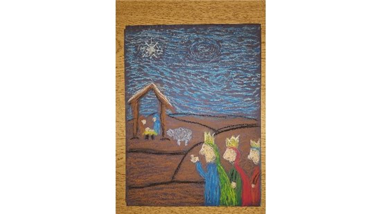 Christmas Starry Night created by an intermediate student sample 11