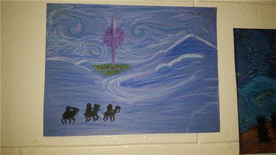 Christmas Starry Night created by an intermediate student sample 1