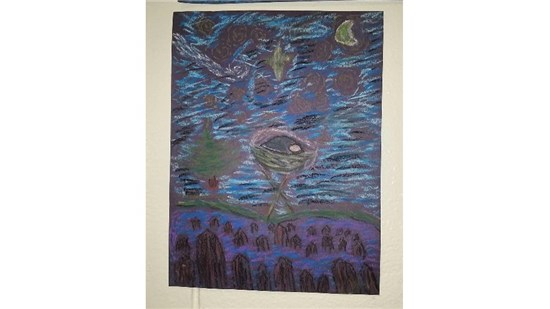 Christmas Starry Night created by an intermediate student sample 8