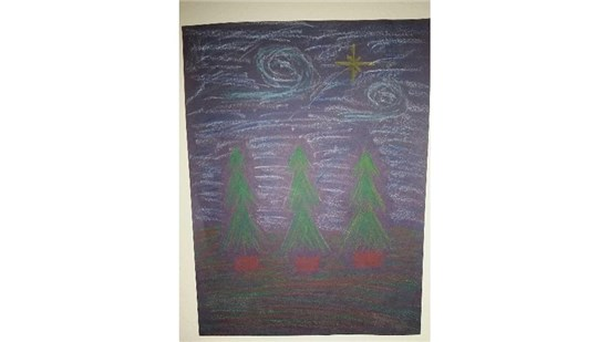 Christmas Starry Night created by an intermediate student sample 10