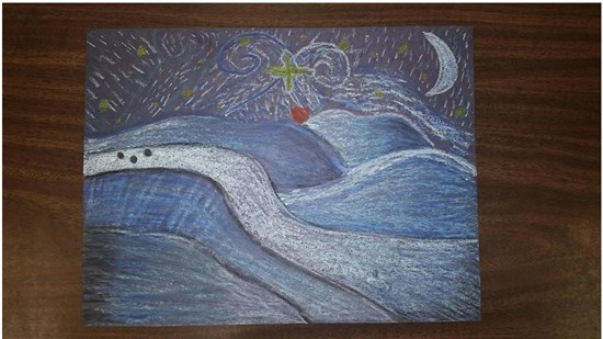 Christmas Starry Night created by an intermediate student sample 2