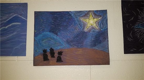 Christmas Starry Night created by an intermediate student sample 3