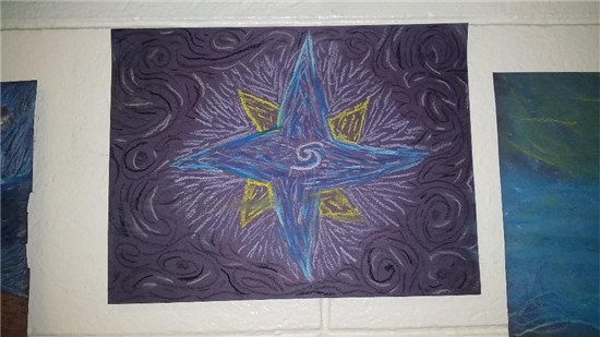 Christmas Starry Night created by an intermediate student sample 4