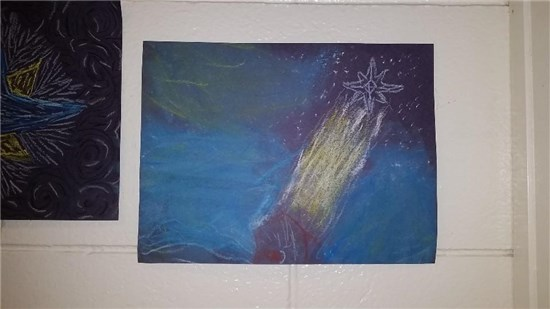 Christmas Starry Night created by an intermediate student sample 5