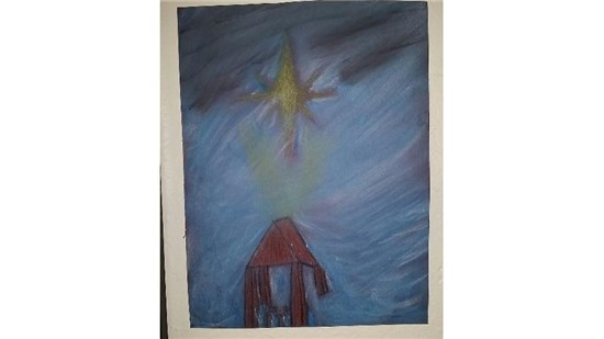 Christmas Starry Night created by an intermediate student sample 6