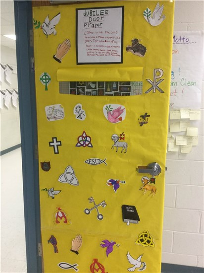 Classroom Door Decorated for the Jubilee Year of Mercy