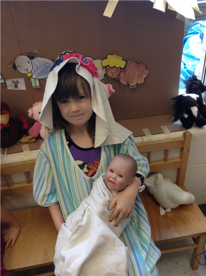 Dressing up as Mary with Baby Jesus in FDK