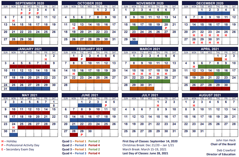 Secondary Quadmester Calendar 2020-2021