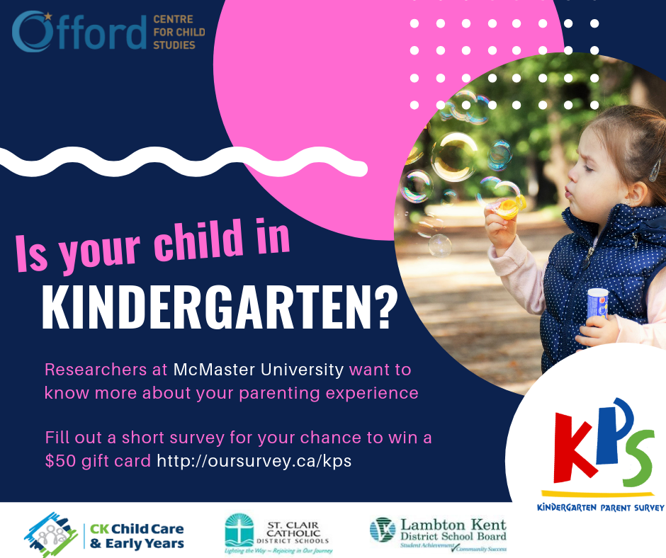KINDERGARTEN PARENTS: Help us improve the quality of early years programming in Chatham-Kent AND enter yourself in a draw for a chance to win one of 10 $50 gift cards! Complete the Kindergarten Parent Survey before June 28th