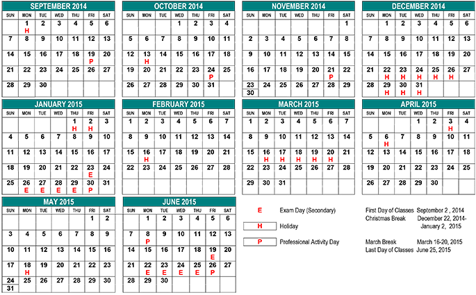 School Year Calendar - St Clair CDS Board