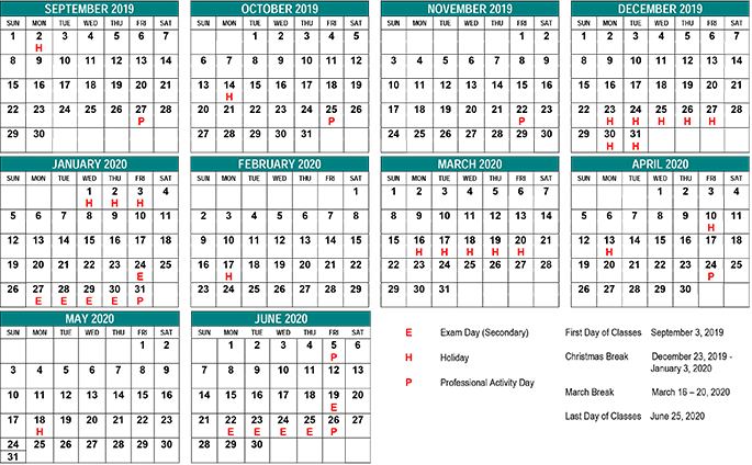 Calendar Sept 2020.School Year Calendar St Clair Cds Board