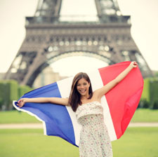Paris Woman French Flag Image