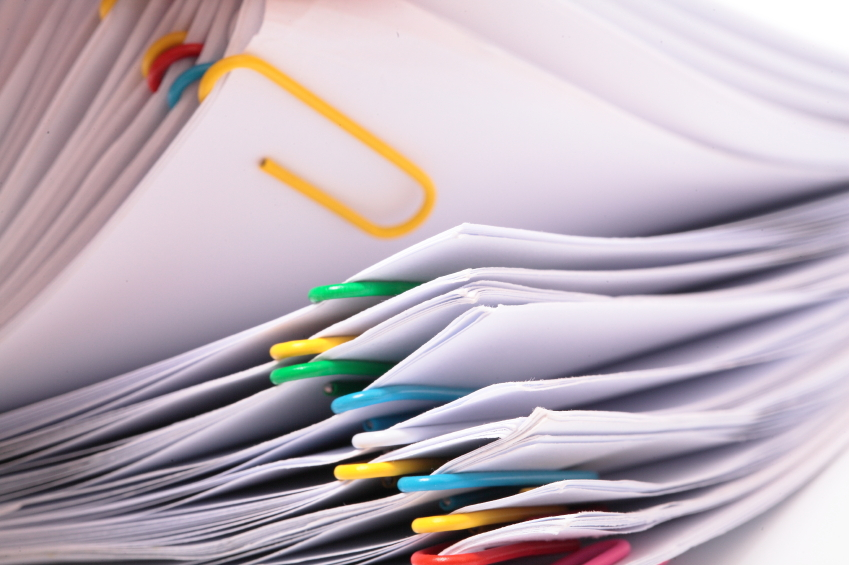 Papers with Colourful Paperclips