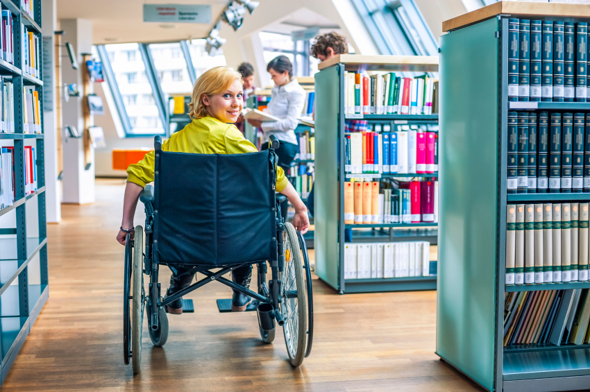 Student in wheelchair in the Library