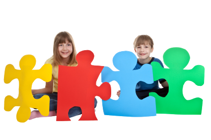 Image of children holding large jigsaw puzzle pieces