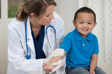 Young child with doctor