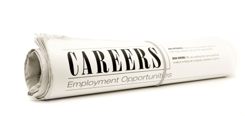 Careers Section of Rolled Newspaper