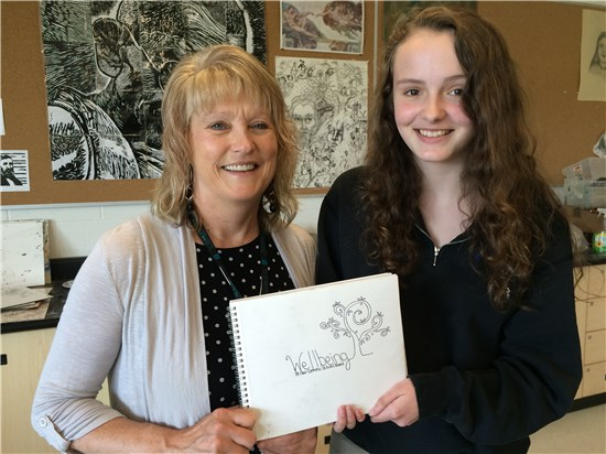 SCCDSB Mental Health Lead Christine Preece and Morgan Mara, the logo design contest winner from St. Patrick's Catholic High School.
